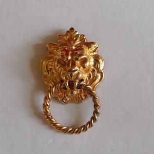 Vintage 70s Anne Klein Goldtone Lion Brooch